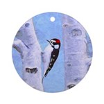 Downy Woodpecker Round Ornament