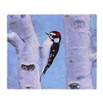 Downy Woodpecker Throw Blanket