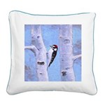Downy Woodpecker Square Canvas Pillow