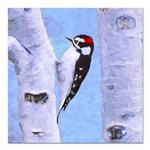 Downy Woodpecker Square Car Magnet 3