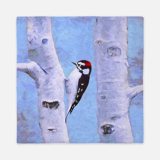 Downy Woodpecker Queen Duvet