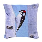 Downy Woodpecker Woven Throw Pillow