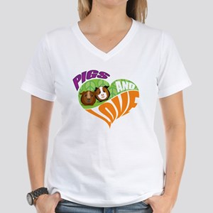 Pigs and Love Women's V-Neck T-Shirt