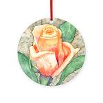 Peach Rose Watercolor Ornament (Round)