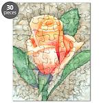 Peach Rose Watercolor Puzzle