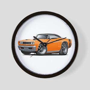 1969 Super Bee Orange-Black Car Wall Clock