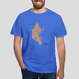 Chicago Men's T-Shirt Gold on Royal Blue