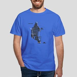 Chicago Men's T-Shirt Black on Royal Blue