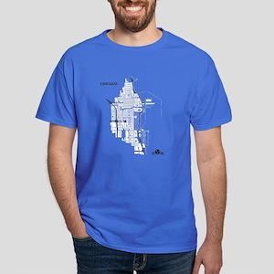 Chicago Men's T-Shirt White on Royal Blue