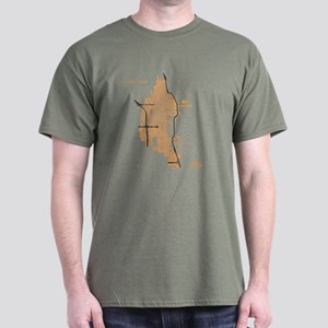 Chicago Men's T-Shirt Gold on Military Green