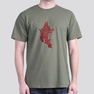 Chicago Men's T-Shirt Red on Military Green