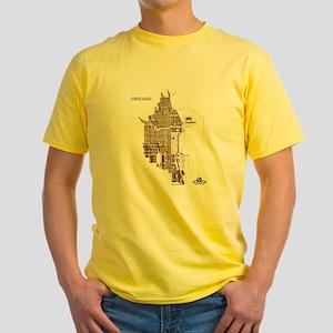 Chicago Men's T-Shirt Dark Gold on Yellow