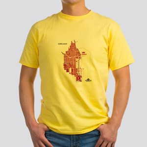 Chicago Men's T-Shirt Red on Yellow