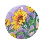 Sunny Sunflowers Watercolor Ornament (Round)