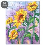 Sunny Sunflowers Watercolor Puzzle