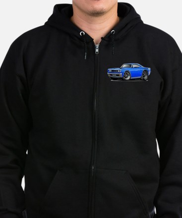 1969 Super Bee Blue Car Zip Hoodie (dark)
