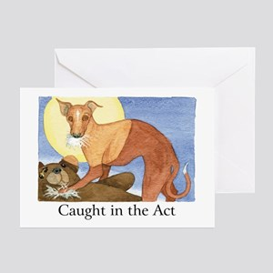 """""""CAUGHT IN THE ACT"""" (with copy) Greeting Cards (Pa"""