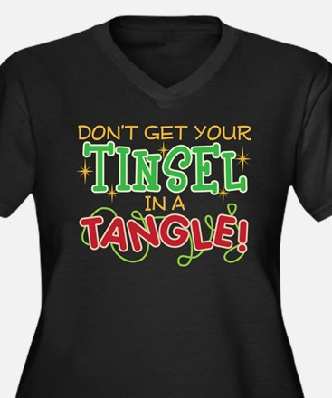 TINSEL IN A TANGLE Women's Plus Size V-Neck Dark T