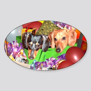 Party Animals Dachshunds Dogs Oval Sticker