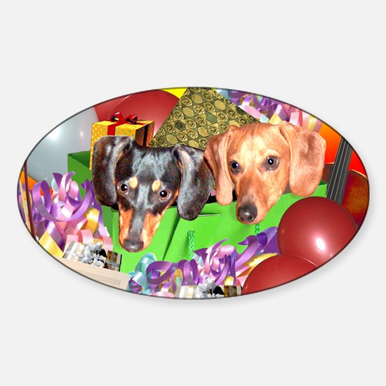 Party Animals Dachshunds Dogs Oval Decal