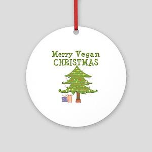 Merry Vegan Christmas Ornament (Round)