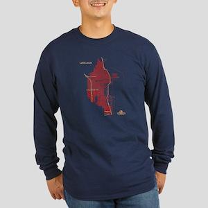 Chicago Men's Long Sleeve Shirt Red on Navy