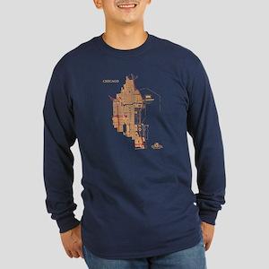 Chicago Men's Long Sleeve Shirt Gold on Navy