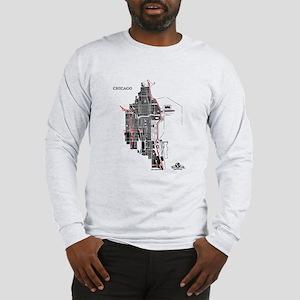 Chicago Men's Long Sleeve Shirt Black on Grey