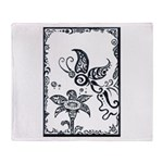 Tribal Butterfly Design Throw Blanket