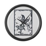 Tribal Butterfly Design Large Wall Clock