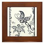 Tribal Butterfly Design Framed Tile