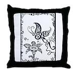 Tribal Butterfly Design Throw Pillow