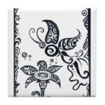 Tribal Butterfly Design Tile Coaster
