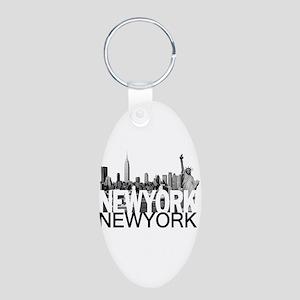 New York Skyline Aluminum Oval Keychain