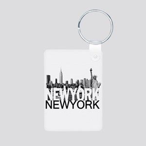 New York Skyline Aluminum Photo Keychain