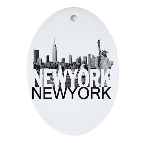 New York Skyline Ornament (Oval)