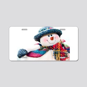 Cute winter snowman with blue hat Aluminum License