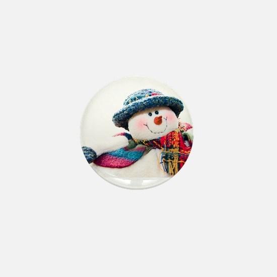 Cute winter snowman with blue hat Mini Button