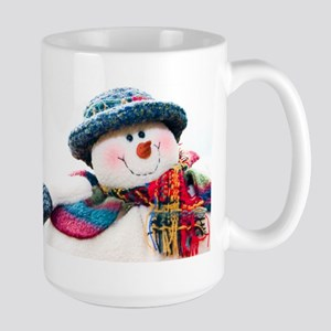 Cute winter snowman with blue hat Large Mug
