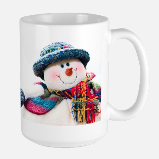 Cute winter snowman with blue hat Large Mug