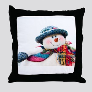 Cute winter snowman with blue hat Throw Pillow