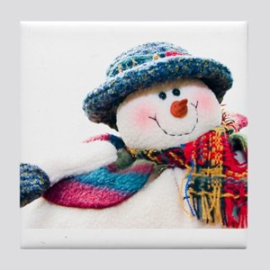 Cute winter snowman with blue hat Tile Coaster