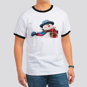 Cute winter snowman with blue hat Ringer T