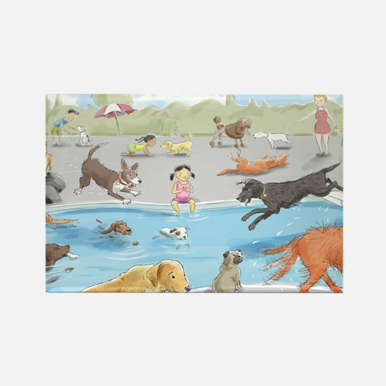 Swimming Dogs Rectangle Magnet