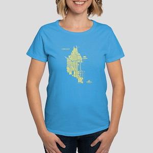 Chicago Women's T-Shirt Lemon on Caribbean Blue