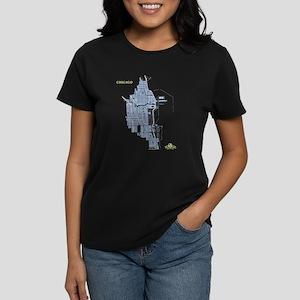 Chicago Women's T-Shirt Blue on Black