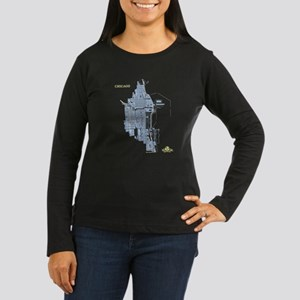 Chicago Women's Long Sleeve Shirt Blue on Brown