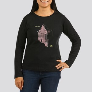 Chicago Women's Long Sleeve Shirt Coral on Brown