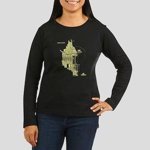Chicago Women's Long Sleeve Shirt Lemon on Brown