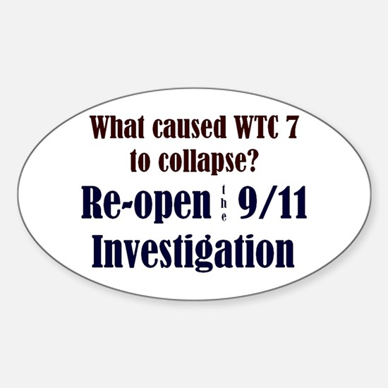 Re-open 9/11 Investigation Oval Decal